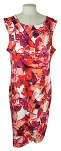 Dana Buchman short dress Red Stretchy Sheath Watercolor Floral on Tradesy