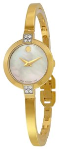 Movado Mother of Pearl Dial Goldtone Stainless Steel Bangle Bracelet Set with Daimonds Ladies Watch