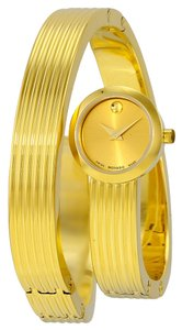 Movado Snake Wrap Gold tone Stainless Steel Bangle Designer Ladies Casual Fashion watch