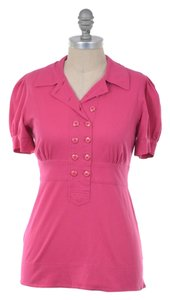 Marc by Marc Jacobs Stretch Cotton Pique Enamel Button Polo Top Hot Pink