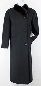 Alorna L Black Dark Brown Mink Wool Lb Coat