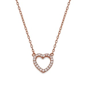 Pave Open Heart Necklace 18k Rose Gold Plated