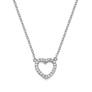 White Gold Pave Open Heart Necklace 18k Plated