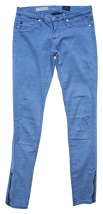 AG Adriano Goldschmied Lsn1527 Colored Sateen Zipper Capri/Cropped Denim-Light Wash