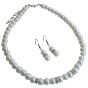 Grey All Occasions Gathering Formal Semi Formal White Pearls Jewelry Set