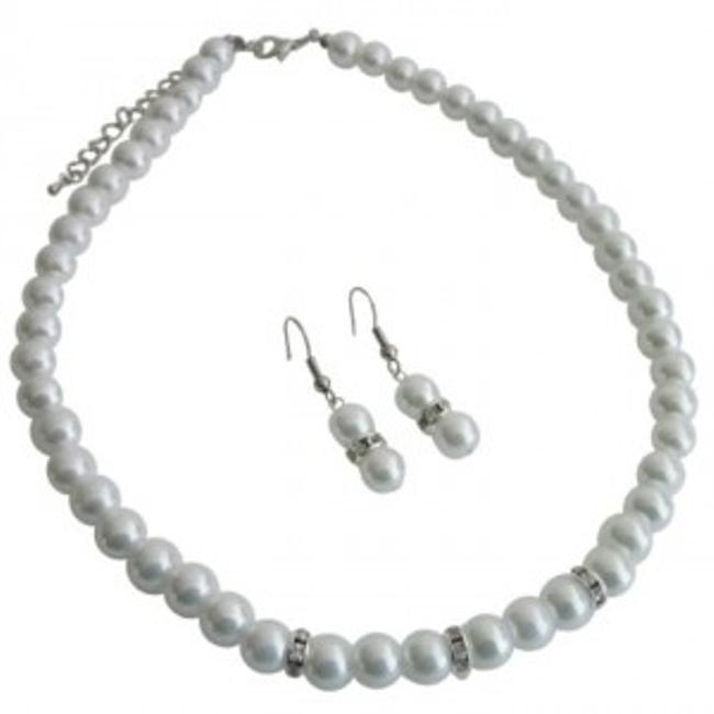 Item - Grey All Occasions Gathering Formal Semi Formal White Pearls Jewelry Set