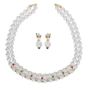 Boucheron Boucheron Quartz Ruby Emerald Sapphire Diamond Necklace And Earring Set.