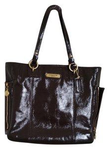 Coach Patent Leather Gold Hardware Tote in brown chocolate mahogany