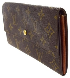 Louis Vuitton Auth LOUIS VUITTON Credit Long Bifold Wallet Purse Monogram Brown M61725 Coin Case