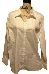 Laura Scott Sequins Collared Office Comfortable Raindrop Button Down Shirt White