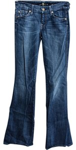 7 For All Mankind Studded A Pockets Denim Flare Leg Jeans-Dark Rinse