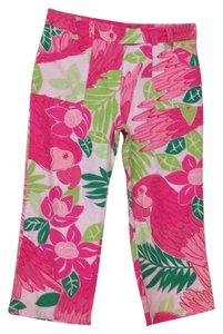 Lilly Pulitzer Crop Capris Green pink white