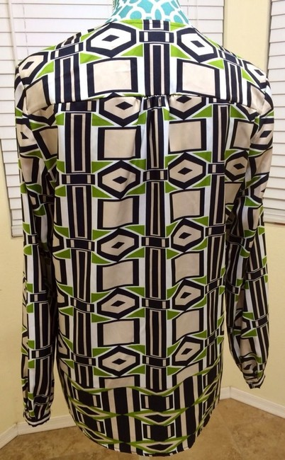 Jones New York Collection January Multi Maxi Shirt Women Ladies Misses Designer Sale Deal Value Quality Reduced 60% Off Discount Top Absinthe