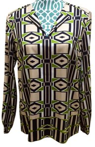 Jones New York Collection January Multi Maxi Shirt Scarf Designer Women Ladies Misses Sale Deal Value Reduced Discount Spring Top Absinthe
