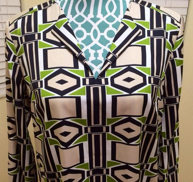 Jones New York Collection January Multi Maxi Shirt Scarf Designer Women Ladies Misses Sale Deal Value Reduced Discount Spring Out Top Absinthe