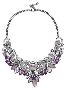 Eye Candy Los Angeles Eye Candy Los Angeles Stone Bib Necklace Amethyst, Gun Metal, Crystals