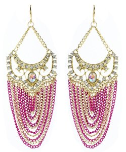 Amrita Singh Amrita Singh Gold Crystal Elizabeth Steet Fuschia Chain Earrings Erc 2027