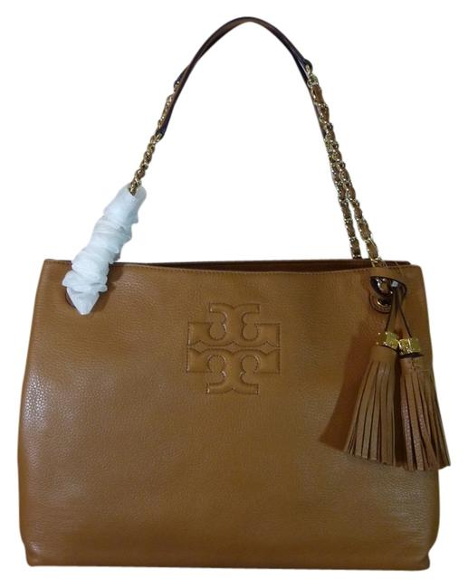 Item - Thea Bark Chain Shoulder Slouchy Brown/Tan Pebbled Leather Tote