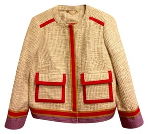 Tory Burch Tweed Jacket Channel Beige White Ivory Red Orange Blazer