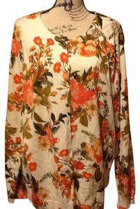 Laura Scott Floral Plant Leaves Relaxed Office Cardigan