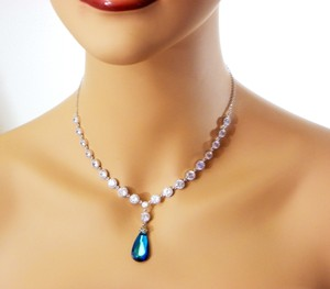 Bridesmaid Gift Bermuda Blue Swarovski Crystal Necklace Peacock Jewelry Blue Pendant Pridal Necklace Weddings Zirconia