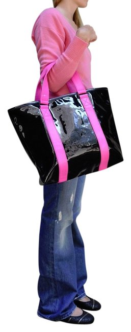 Item - By Shiny Designer Handbags Purse Tote Black Pink Multi-color Pvc Shoulder Bag