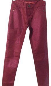 Tinseltown Skinny Pants DARK PINK METALIC