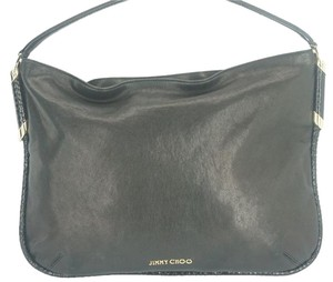 Jimmy Choo Palladium Logo Leather Hobo Bag