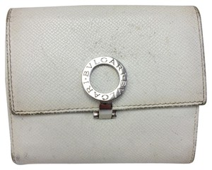 BVLGARI BVLGARI #5840 White leather Bifold Double Compact Wallet holder Pocket Bill Holder Card Case Coin Purse