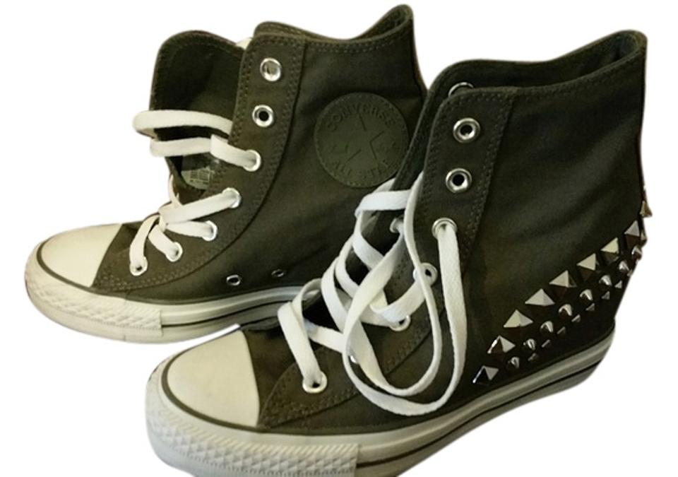 a4b65acfca3019 Converse Grey Rare Chuck Taylor Studded Wedge Sneakers Sneakers Size ...