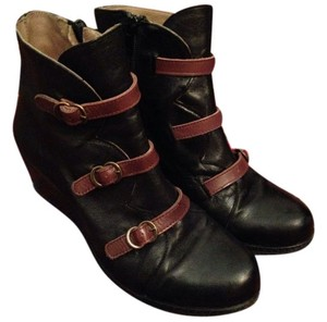 Eric Michael Wedge Ankle Detail Spanish Leather Black with brown straps Boots