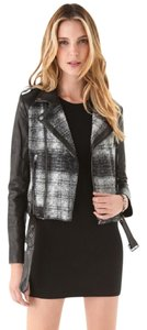 Rebecca Minkoff Plaid Mixed Media Leather Motorcycle Motorcycle Jacket