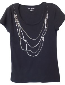 Ann Taylor Excellent Condition Knit Cotton Necklace Pearl Top Black