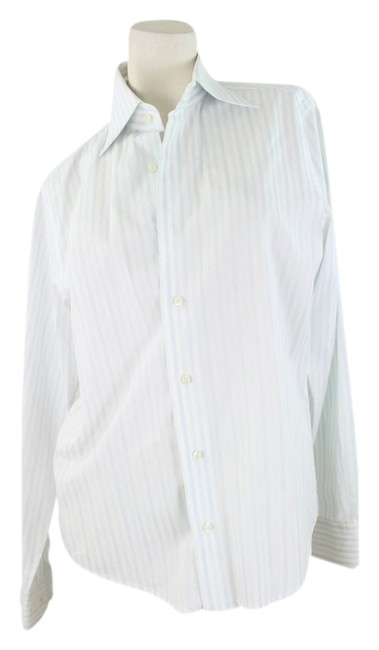 Valentino Button Down Shirt White and Blue