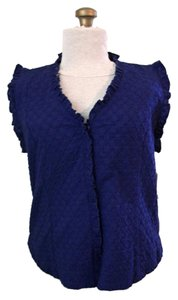 Bass Indigo Ruffle Sleeveless Button Down Shirt Blue Spell