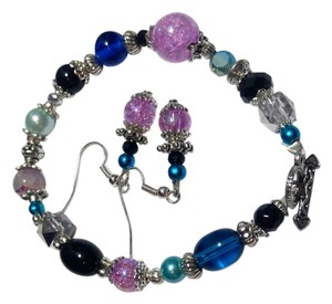 New Handmade Gemstone & Crystal Bracelet Earrings Set Purple Black Blue J2379