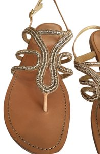 Stuart Weitzman Diamond Gold Nude with braided chain trim Sandals