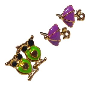 Other New Owl & Umbrella 2 pair Earrings Studs Small Green Purple J2380