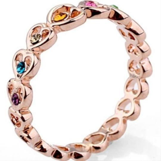 Colorful Topaz Rose Gold Heart Band Ring Free Shipping