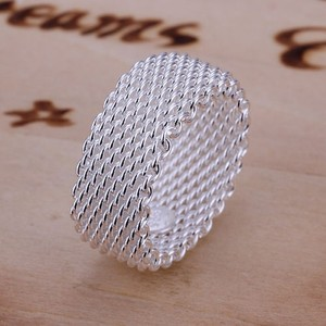 Sterling Silver Plated Wide Mesh Band Ring Free Shipping