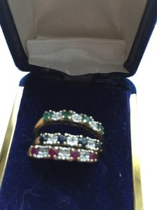 Other Three 10K Stacking rings Emeralds Sapphires and Rubies