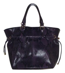 Calvin Klein Black Leather Tote in Purple