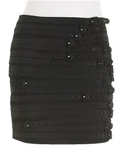Other Mini Buckles Stretch Moto Skirt Black