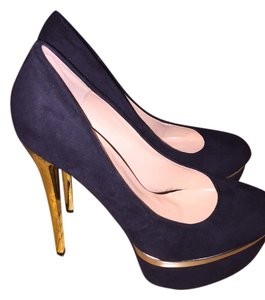Fahrenheit High Heels And Gold Black Pumps