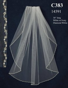 J.L. Johnson Bridals Diamond White Beaded Pearl Fingertip Wedding Veil