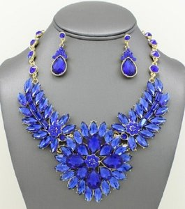 Striking Blue Rhinestone Crystal Marquise Cluster Necklace And Earrings