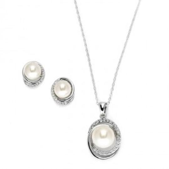 Mariell Silver Pearl and Cz Jewelry Set
