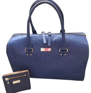Kate Spade Leather Satchel in Blue Ostrich