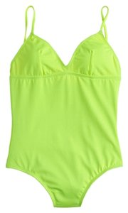 J.Crew neon v-neck one piece swimsuit