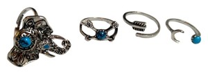Other New 4 Piece Ring Set Elephant Silver Tone Turquoise Adjustable Statement Rings J2384
